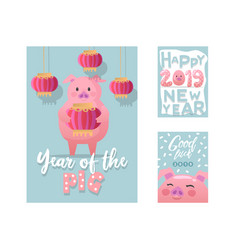 happy new year posters cute pig symbol 2019 year vector image