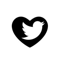 Heart black bird icon love symbol social media vector