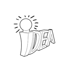 Idea word with light bulb icon outline style vector image