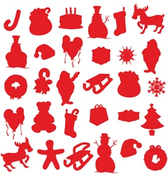 Isolated christmas items silhouettes vector