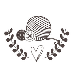 Isolated yarn ball and buttons design vector