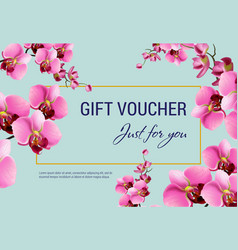 Just for you gift certificate design with pink vector