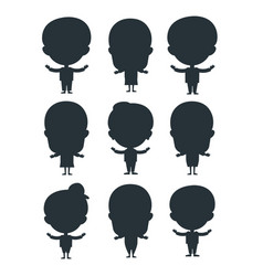 kids silhouette happy young expression cute vector image