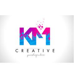 km k m letter logo with shattered broken blue vector image