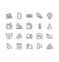 Line oil icons vector