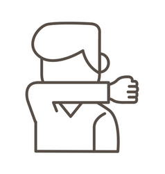man coughing in elbow line style icon vector image