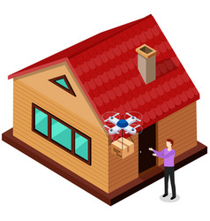 man received package from drone at home guy picks vector image