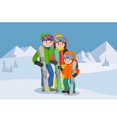 Man woman boy skiing in snow mountain Family vector image