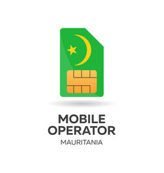 Mauritania mobile operator sim card with flag vector