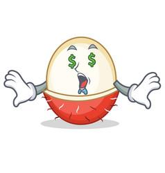 Money eye rambutan mascot cartoon style vector