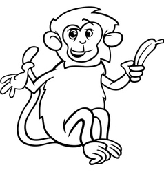 Monkey with banana coloring page vector