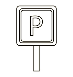 Parking sign icon outline style vector image