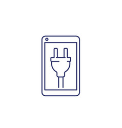 phone with electric plug on screen line icon vector image