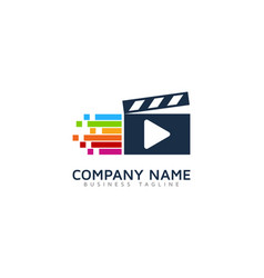pixel art video logo icon design vector image