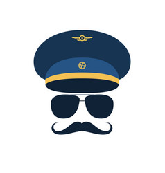 portrait of pilot with mustache in cap vector image
