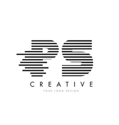 Ps p s zebra letter logo design with black and vector