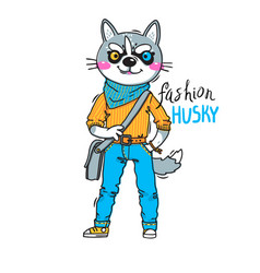 puppy in fashionable clothes fashion husky print vector image