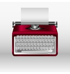 Retro typewriter with white paper sheet 3d vector