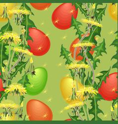 seamless pattern easter egg and dandelion vector image