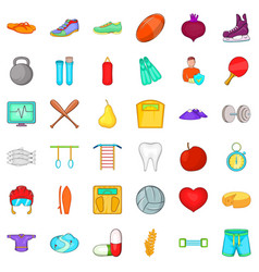 Secured icons set cartoon style vector