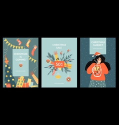 Set christmas cards and christmas market vector