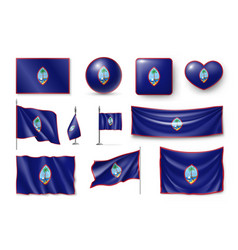 Set guam realistic flags banners banners vector