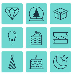 set of 9 holiday icons includes cake piece vector image