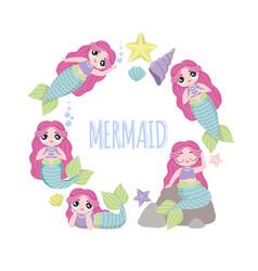 Set of beautiful mermaids with pink hair lol vector
