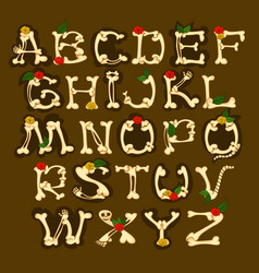 set of english alphabet decorated with flowers vector image