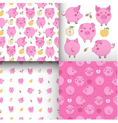 Set of seamless pink-white patterns with pigs vector