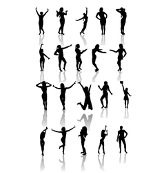 Set of silhouettes of dancing and jumping girls vector image