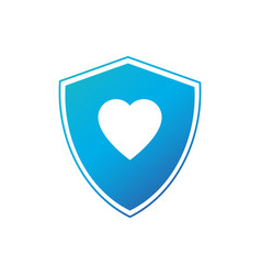 shield in heart icon isolated on white background vector image