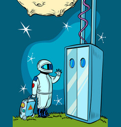 space elevator and an astronaut vector image