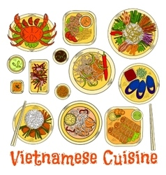 Spicy and refreshing vietnamese dinner sketch icon vector image