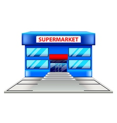 Supermarket building isolated on white vector
