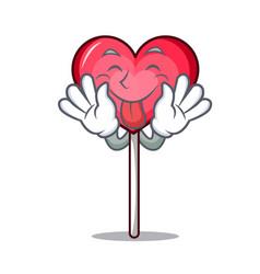 tongue out heart lollipop mascot cartoon vector image