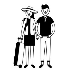 tourist couple with bag and camera vector image