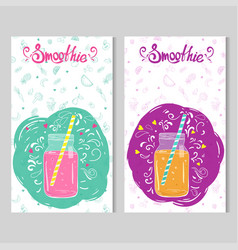 two card templates with doodle style jars with vector image