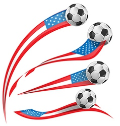 USA flag set whit soccer ball vector image