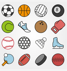 variety sports set in flat style on gray vector image