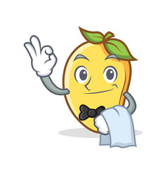 Waiter mango character cartoon mascot vector