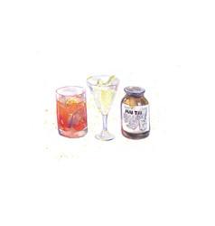 Watercolor drinks cocktails vector