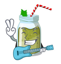 With guitar juice green smoothie on character cup vector