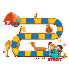 game template with wild animals and kids vector image