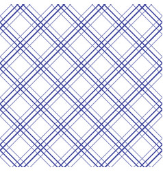 geometric plaid diagonal line blue and white vector image