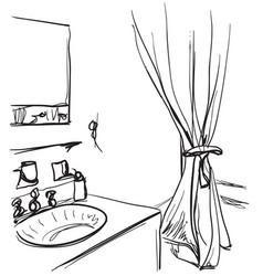 hand drawn bathroom washbasin and mirror sketch vector image vector image