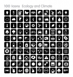 100 icons ecology and climate vector image vector image