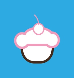Card with a cream cake with a cherry on top vector image vector image