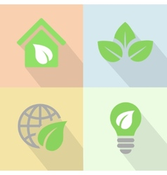 Green energy icons poster flat vector image vector image