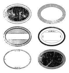 Grunge Oval Stamp Set vector image